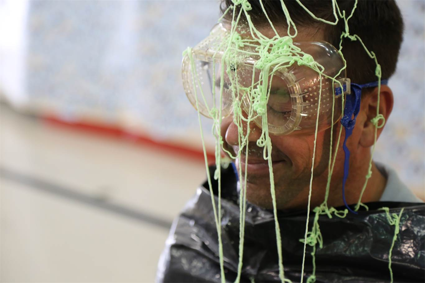 To celebrate raising over $9000, students had a chance to throw Silly String and pie-in-the-face at teachers.