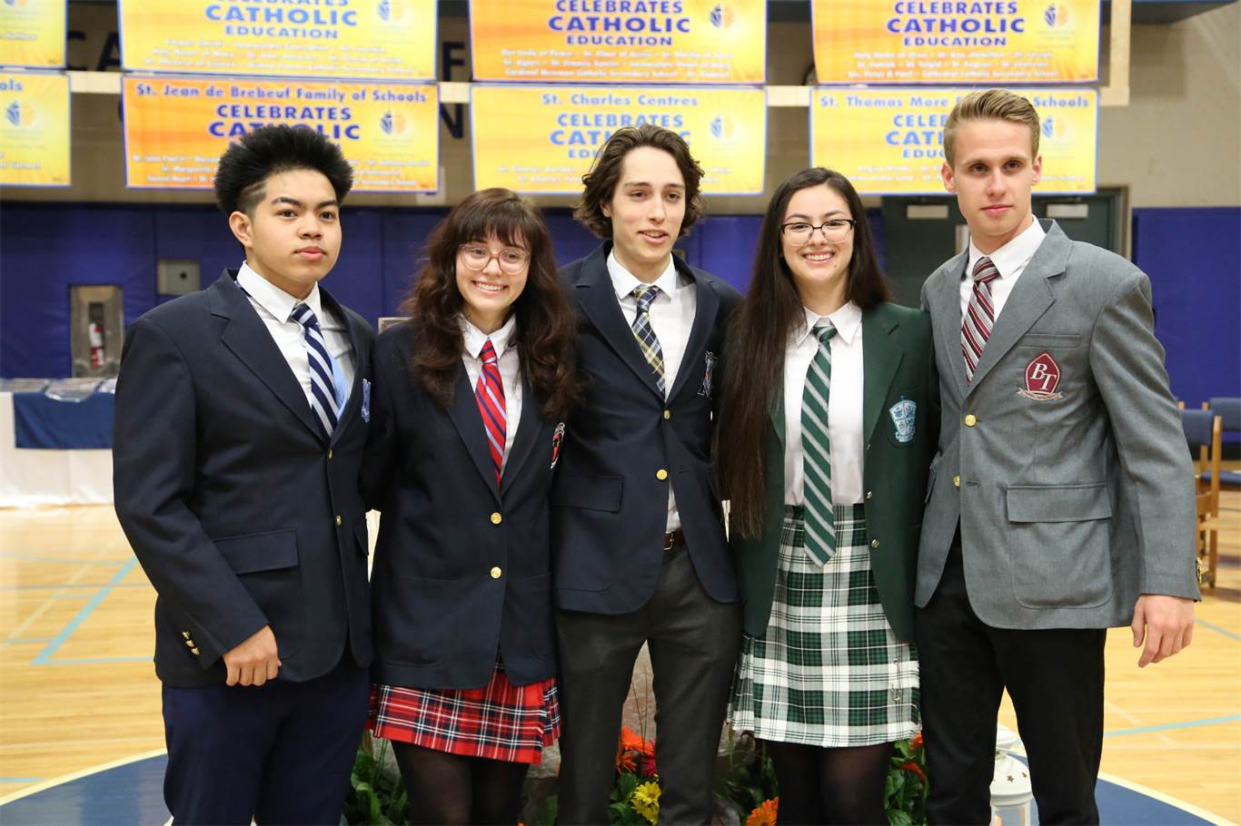 Student Council Presidents from Cathedral, Cardinal Newamn, St. Mary, Bishop Ryan and Bishop Tonnos attend the Catholic Education Week Opening Mass at Cathedral High School on May 7. Photo by Jenna Madalena.
